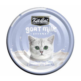 Kit Cat Goat Milk Gourmet White Meat Tuna Flakes & Whitebait Canned Cat Food 70g