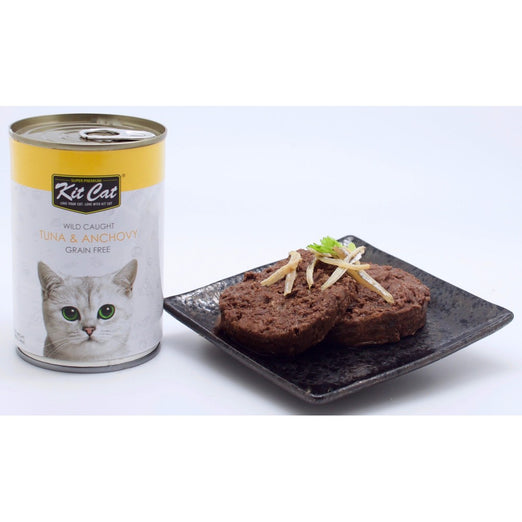 Kit Cat Wild Caught Tuna & Anchovy Grain Free Canned Cat Food 400g