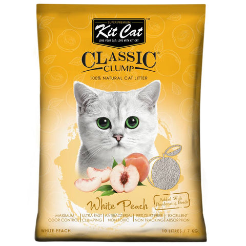 Kit Cat Classic Clump White Peach Clay Cat Litter 10L - Kohepets