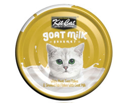 Kit Cat Goat Milk Gourmet White Meat Tuna Flakes & Smoked Fish Flakes Canned Cat Food 70g