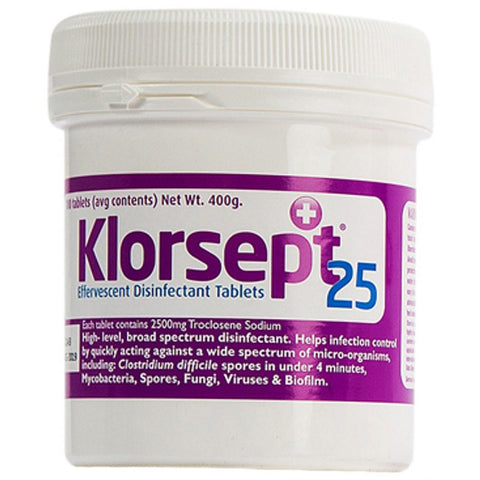 Klorsept 25 Effervescent Disinfectant Tablets 100 Tabs