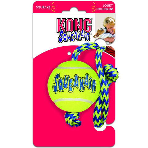 KONG Air Squeaker Ball with Rope Medium - Kohepets