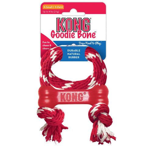KONG Classic Goodie Bone with Rope Dog Toy X-Small - Kohepets