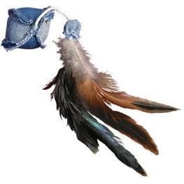 Kong Denim Ball With Feathers Cat Toy
