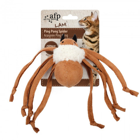 All For Paws Lambswool Ping Pong Spider Cat Toy - Kohepets