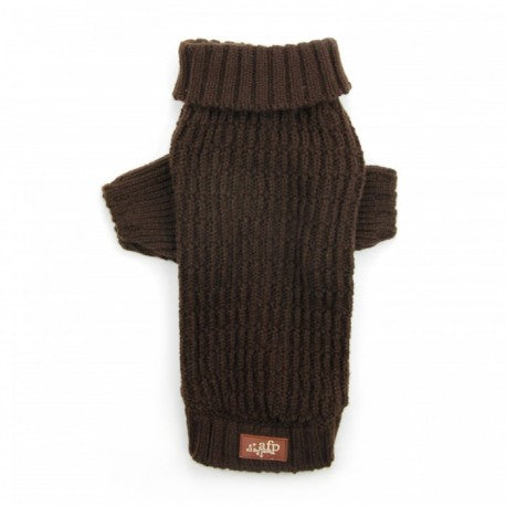 All For Paws Lambswool Fisherman's Weave Dog Puppy Sweater - Chocolate - Kohepets