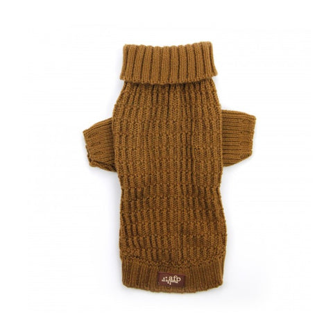 All For Paws Lambswool Fisherman's Weave Dog Puppy Sweater - Coffee - Kohepets