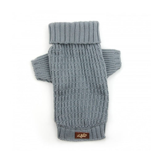All For Paws Lambswool Fisherman's Weave Dog Puppy Sweater - Slate