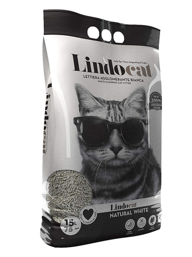 Lindocat Natural White Clumping Clay Cat Litter 15L - Kohepets