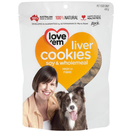 Love'em Soy & Wholemeal Liver Cookies Dog Treats 450g