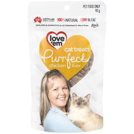 20% OFF (Exp 30 Mar): Love'em Purrfect Chicken Liver Cat Treats 90g