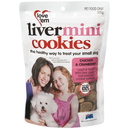 Love'em Chicken Liver & Cranberry Mini Cookies 300g
