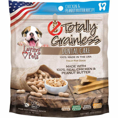 Loving Pets Totally Grainless Chicken & Peanut Butter Dental Dog Treats 6oz - Kohepets