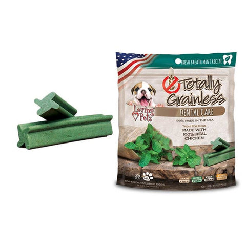 Loving Pets Totally Grainless Fresh Breath Mint Dental Dog Treats 6oz - Kohepets