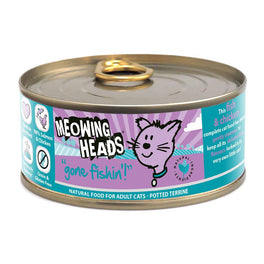 10% OFF: Meowing Heads Gone Fishin' Salmon and Chicken Grain Free Canned Cat Food 100g (Exp May 19)