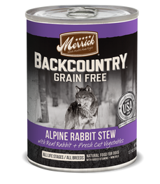 Merrick Backcountry Grain-Free Hearty Alpine Rabbit Stew Canned Dog Food 360g