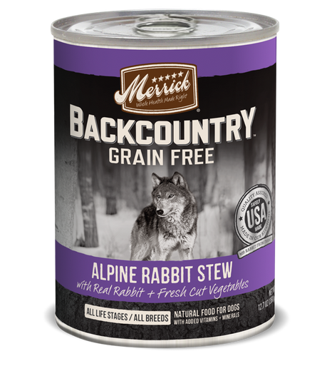 Merrick Backcountry Grain-Free Hearty Alpine Rabbit Stew Canned Dog Food 360g - Kohepets