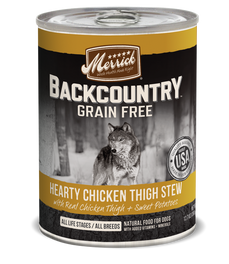 Merrick Backcountry Grain-Free Hearty Chicken Thigh Stew Canned Dog Food 360g