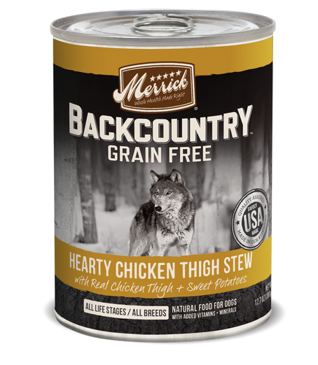 Merrick Backcountry Grain-Free Hearty Chicken Thigh Stew Canned Dog Food 360g - Kohepets