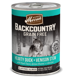 Merrick Backcountry Grain-Free Hearty Duck & Venison Stew Canned Dog Food 360g