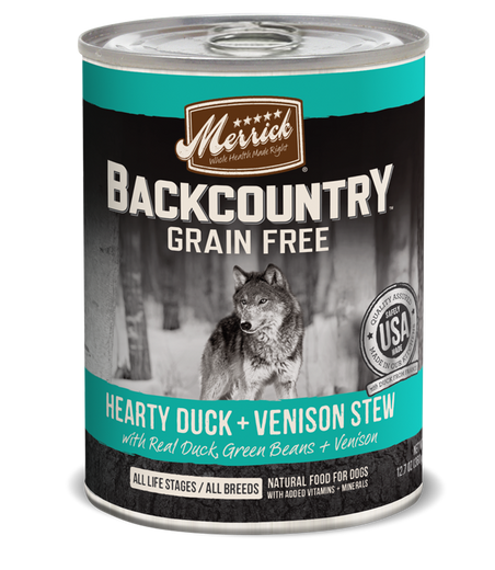 Merrick Backcountry Grain-Free Hearty Duck & Venison Stew Canned Dog Food 360g - Kohepets
