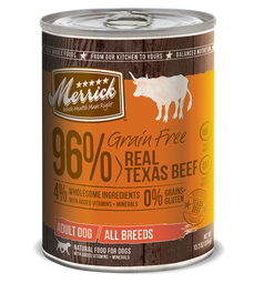 Merrick Grain Free 96% Real Texas Beef Canned Dog Food 374g