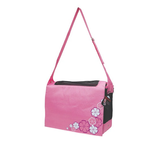 Dogit Style Nylon Messenger Dog Carry Bag - Aloha Pink - Kohepets