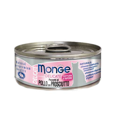 Monge Delicate Chicken with Ham Canned Cat Food 80g