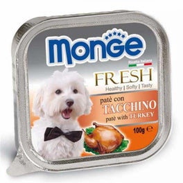 Monge Fresh Turkey Pate with Chunkies Tray Dog Food 100g