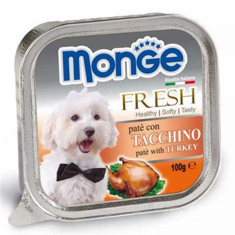 Monge Fresh Turkey Pate with Chunkies Tray Dog Food 100g - Kohepets