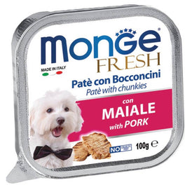 Monge Fresh Pork Pate with Chunkies Tray Dog Food 100g