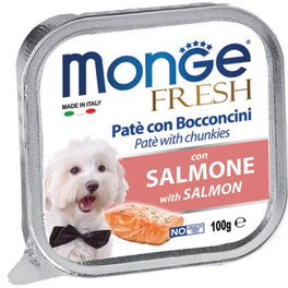 Monge Fresh Salmon Pate with Chunkies Tray Dog Food 100g