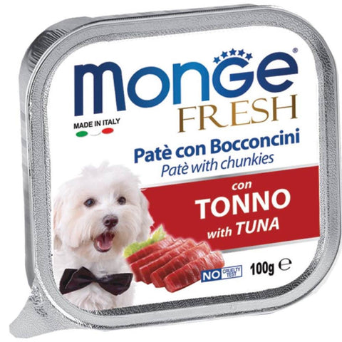 Monge Fresh Tuna Pate with Chunkies Tray Dog Food 100g