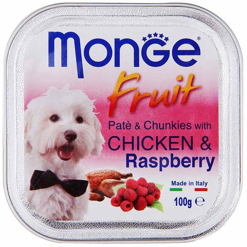Monge Fruit Chicken & Raspberry Pate with Chunkies Tray Dog Food 100g - Kohepets