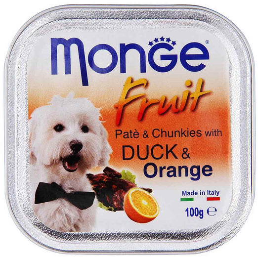 Monge Fruit Duck & Orange Pate with Chunkies Tray Dog Food 100g - Kohepets