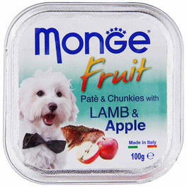 Monge Fruit Lamb & Apple Pate with Chunkies Tray Dog Food 100g