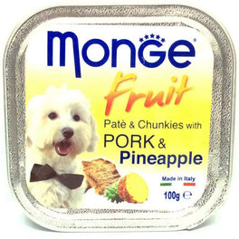 Monge Fruit Pork & Pineapple Pate with Chunkies Tray Dog Food 100g