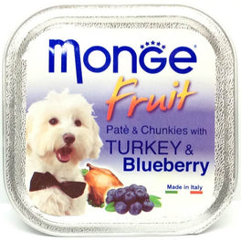 Monge Fruit Turkey & Blueberry Pate with Chunkies Tray Dog Food 100g