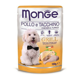Monge Grill Chicken & Turkey Pouch Dog Food 100g
