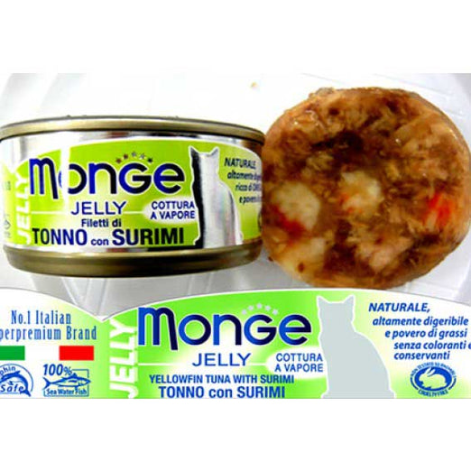 Monge Yellowfin Tuna with Surimi in Jelly Canned Cat Food 80g