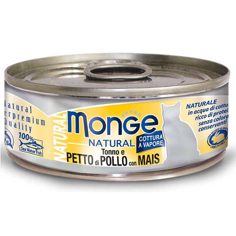 Monge Natural Tuna & Chicken With Corn Canned Cat Food 80g