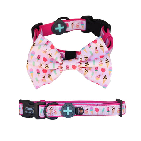Moo+Twig Sweet Treat Removable Dog Collar and Bowtie - Kohepets