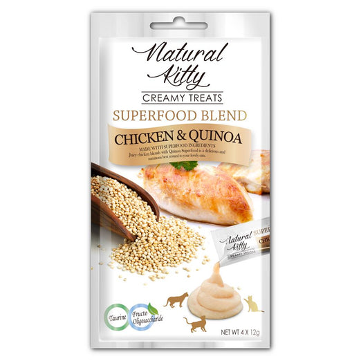 3 FOR $11: Natural Kitty Superfood Blend Chicken & Quinoa Creamy Liquid Cat Treats 48g
