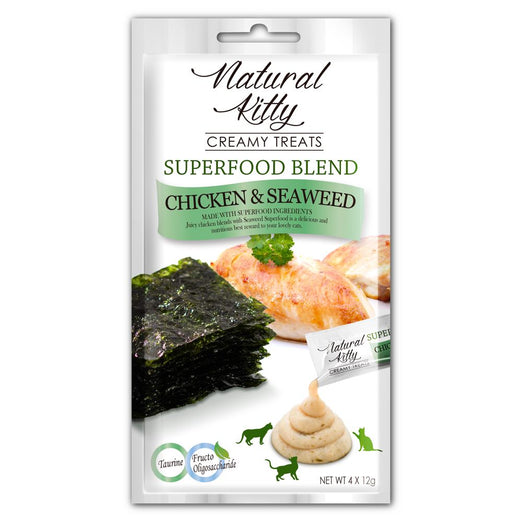 3 FOR $11: Natural Kitty Superfood Blend Chicken & Seaweed Creamy Liquid Cat Treats 48g