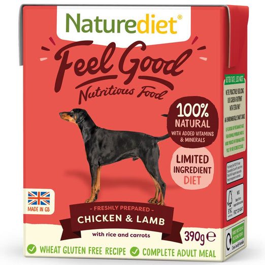 'BUY 2 GET 1 FREE': Naturediet Feel Good Chicken & Lamb With Rice & Carrots Wet Dog Food 390g
