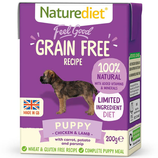 20% OFF: Naturediet Feel Good Grain Free Puppy Chicken & Lamb Wet Dog Food 200g - Kohepets