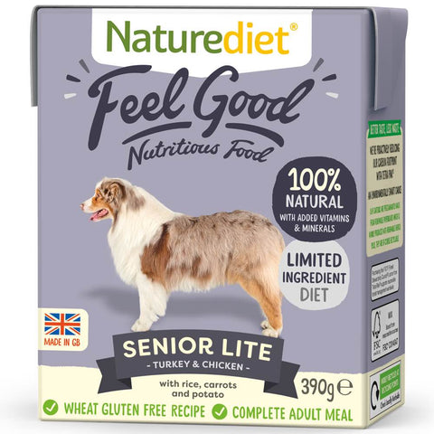Naturediet Feel Good Senior Lite Turkey & Chicken Wet Dog Food 390g - Kohepets
