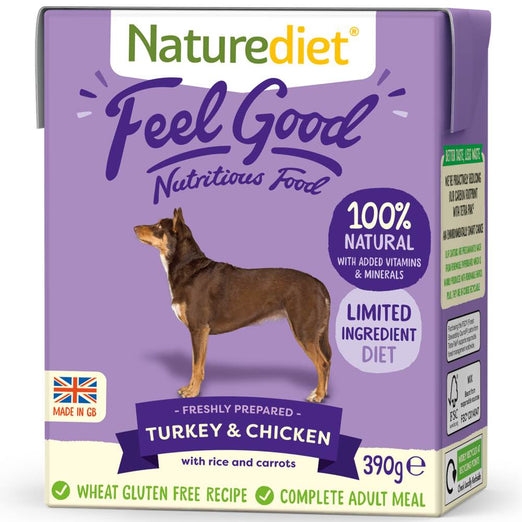 20% OFF: Naturediet Feel Good Turkey & Chicken Wet Dog Food 390g - Kohepets