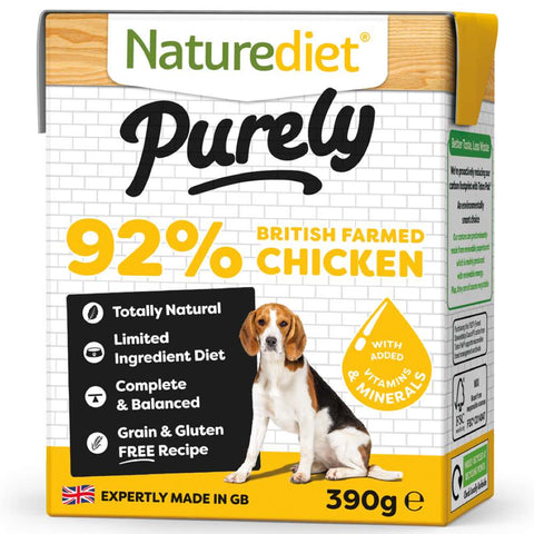 'BUY 2 GET 1 FREE': Naturediet Purely Chicken Grain Free Wet Dog Food 390g