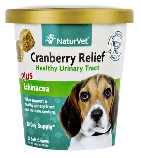 20% OFF: NaturVet Cranberry Relief Plus Echinacea Soft Chew Cup 60 count